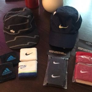 Bundle- 2 hats and sweat wrist bands.